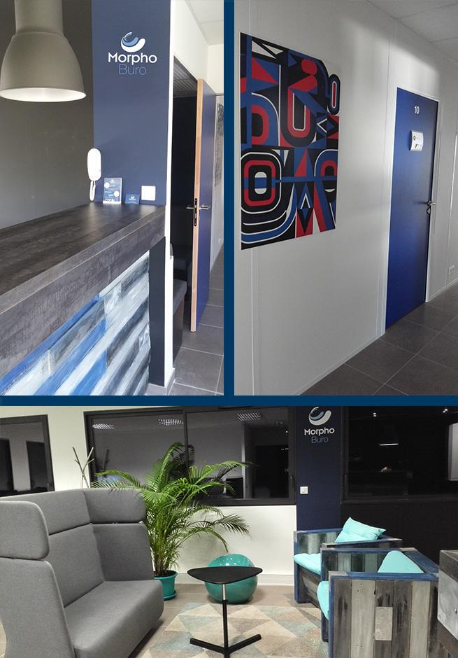 accueil coworking et couloir bureaux