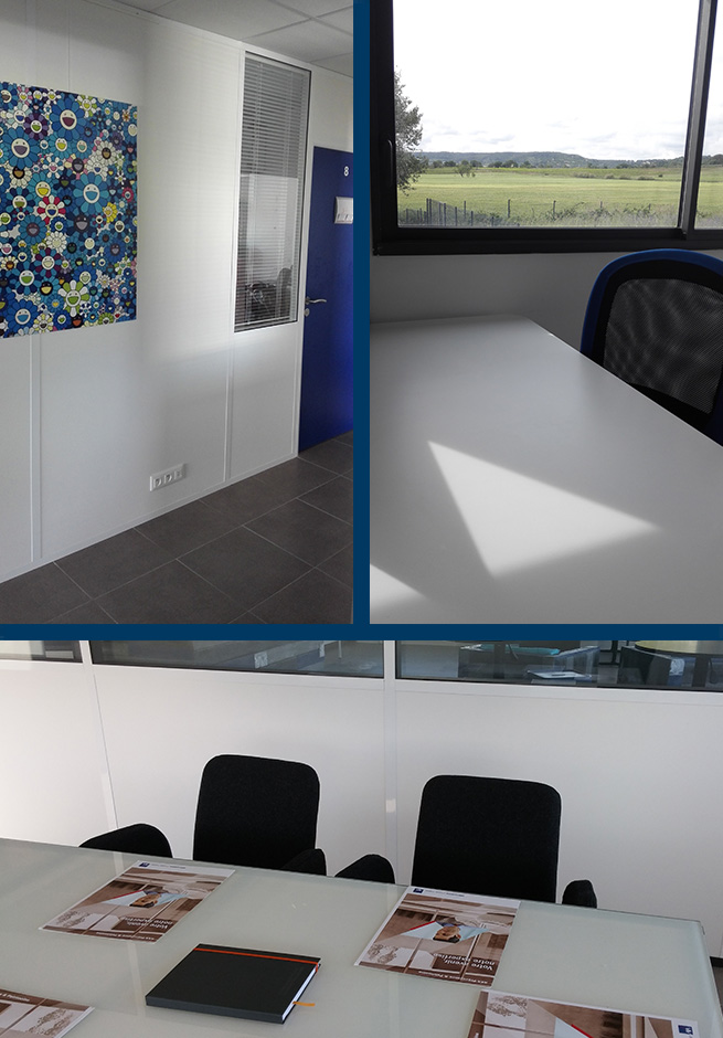 couloir bureaux, bureau indépendant, salle de réunion
